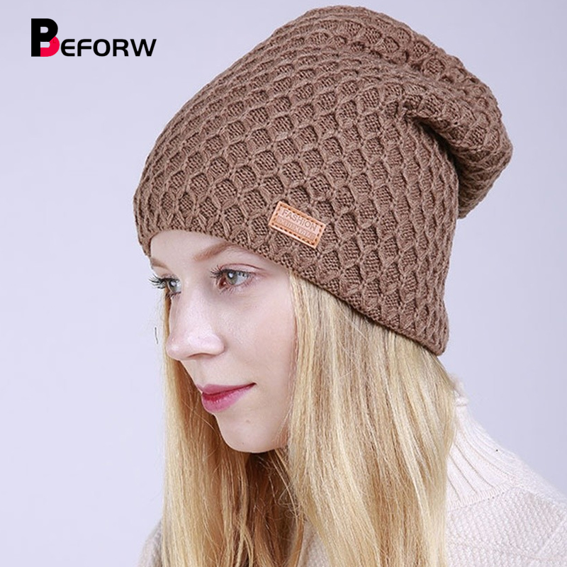 BEFORW 2019 New Winter Knitted Adult Hats Caps For Women Men Plus Velvet   Beanie   Cap For Casual Keep Warm Elastic Hat Bonnet
