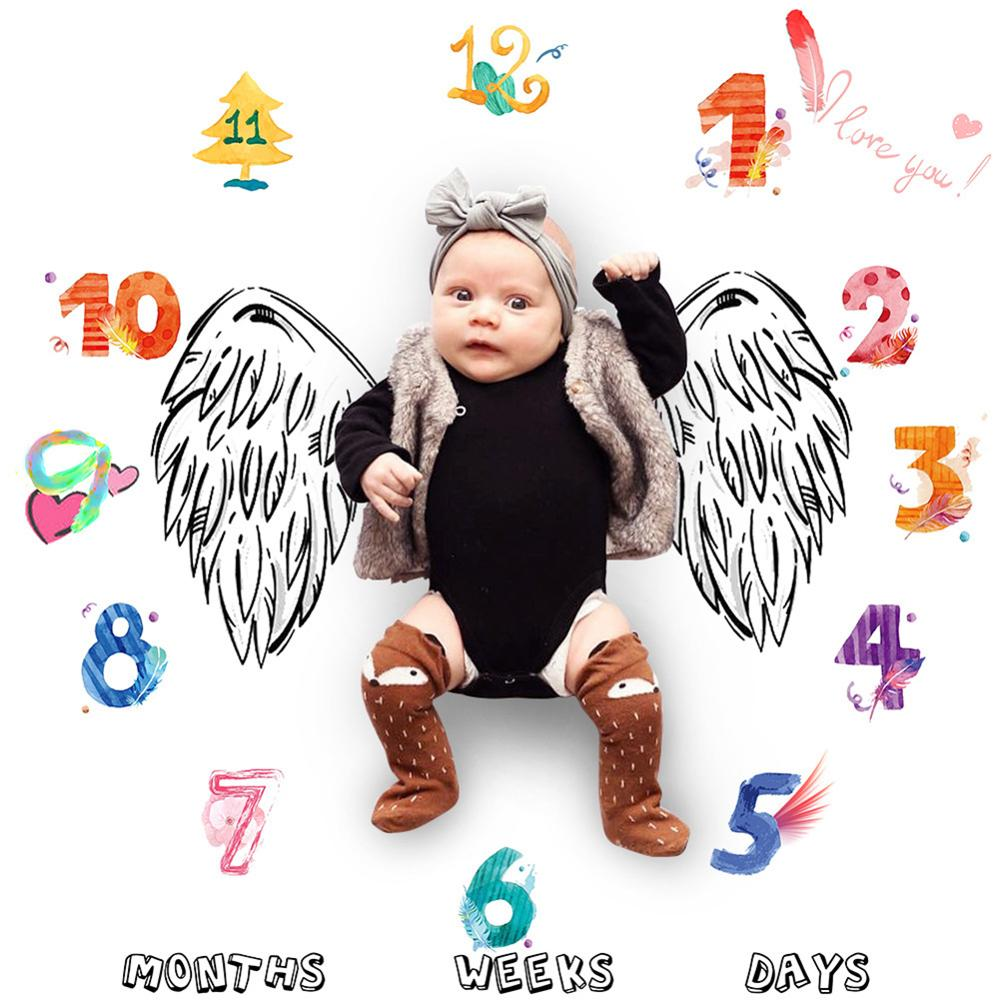 Baby Milestone Photography Blankets Newborn Soft Warm Print Bed Swaddle Wrap Monthly Growth Number Photo Background Bath Towel