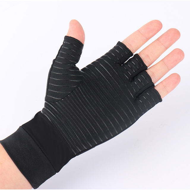 1 Pair Womens Mens fiber Therapy Compression Gloves Hand Arthritis Joint Pain Relief Half Full Finger Therapy Gloves 2