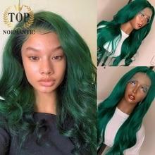 Topnormantic зеленый цвет Remy индийские человеческие волосы 13X4 кружевные передние парики с ребенком волосы 4x4 закрытые волнистые парики предварит...