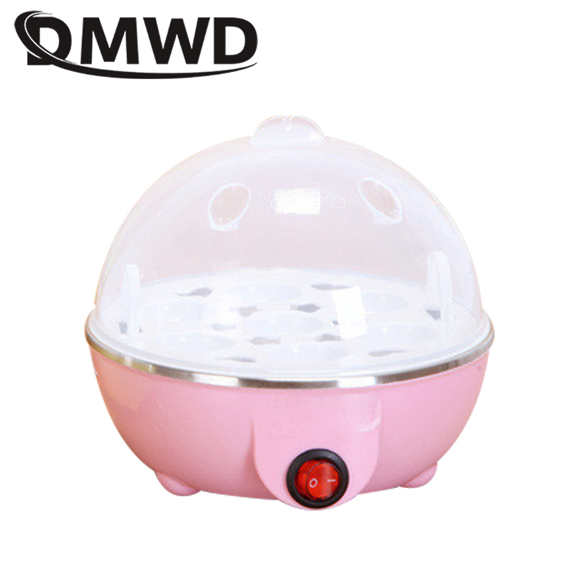 DMWD Electric Egg Cooker Boiler Rapid Heating Stainless Steel Steamer Pan Cooking Tools Kitchenware Portable 7 Eggs Capacity EU