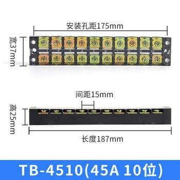 Tira de Bloque de terminales de tornillo TB4510 de doble fila 45a/600V conector de cable eléctrico Terminal de engarce rápido