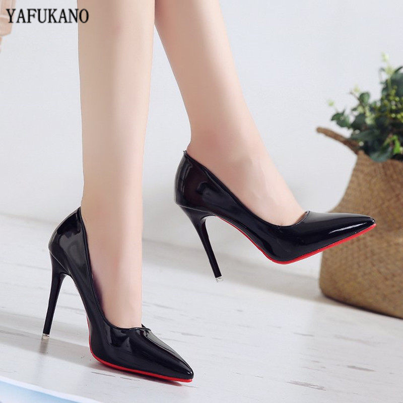 Nude Color Small Fresh High Heels Patent Leather Stiletto Single Shoes Korean Sexy Pointed Pumps Black Professional Work Shoes