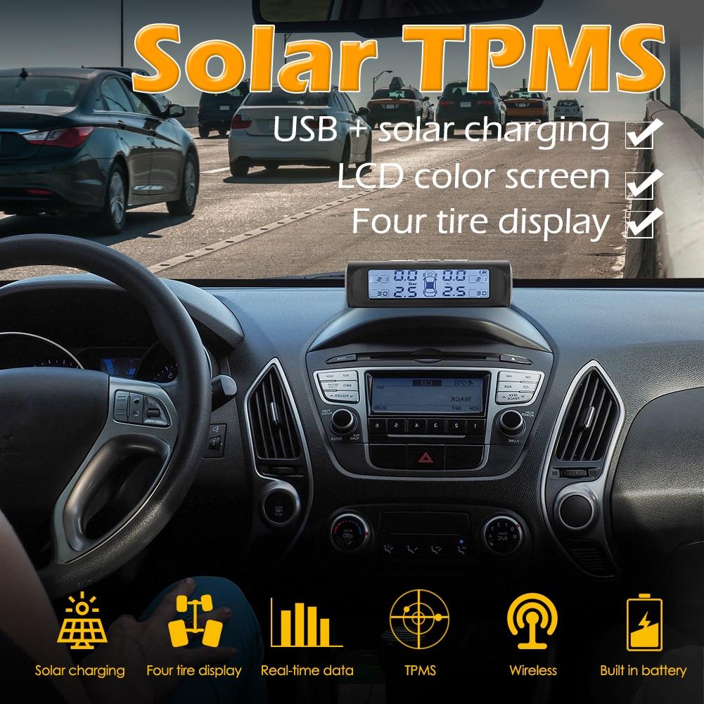 VODOOL Solar Auto TPMS auto auto reifendruck-monitor Schwarz Weiß Bildschirm 4 Sensor Tire Pressure Monitoring System