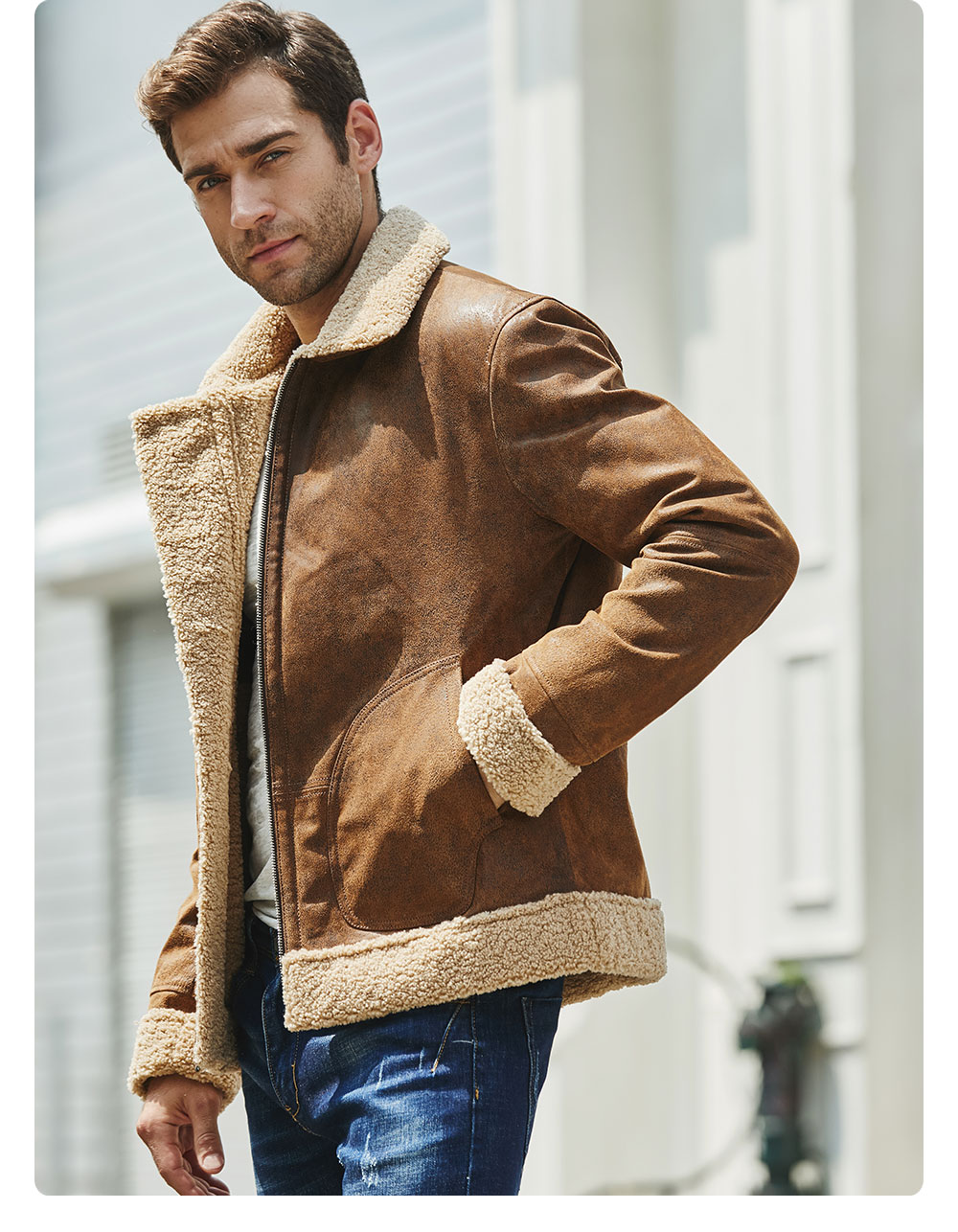 H3353230c5633420abb266139ecb3aba2E New Men's Real Leather Jacket Faux Fur Collar Genuine Leather Jacket