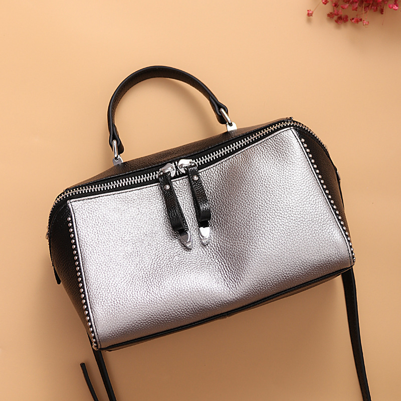 First Layer WOMEN'S Cow Leather Bag New Style Leather Bag First Layer of Leather WOMEN'S Shoulder Bag Simple Retro WOMEN'S Bag F