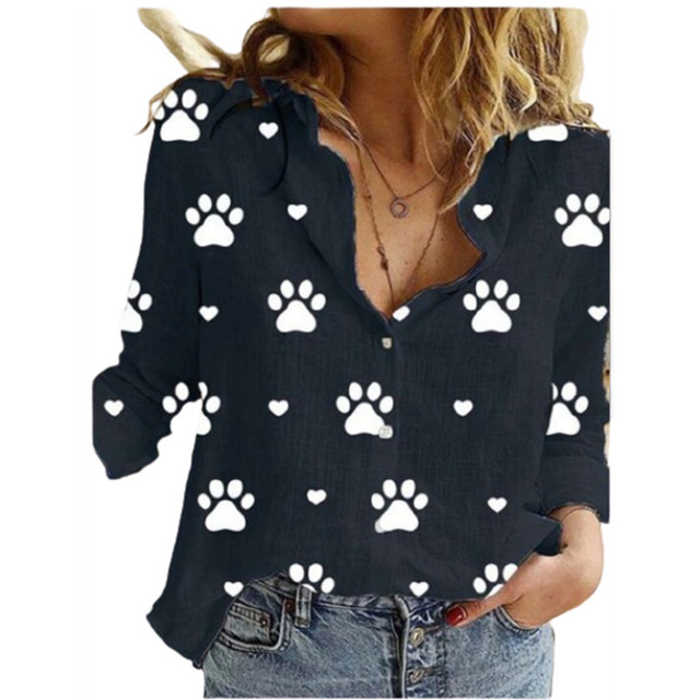 Cute Paw Print Printing Lapel Long Sleeve Women's Shirt Spring Autumn New Cardigan Casual Button Ladies Blouse Ropa De Mujer 2