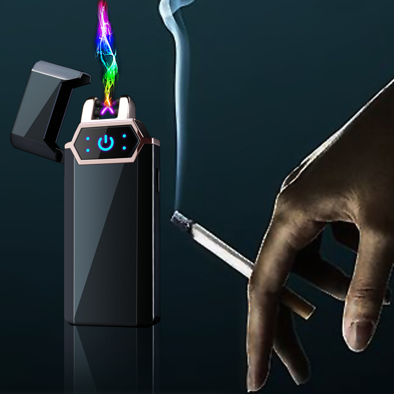 USB Electric Lighter Fingerprint Touch Fire Plasma Double Arc Lighter Windproof Metal Cigarette Fitting Men's Gift