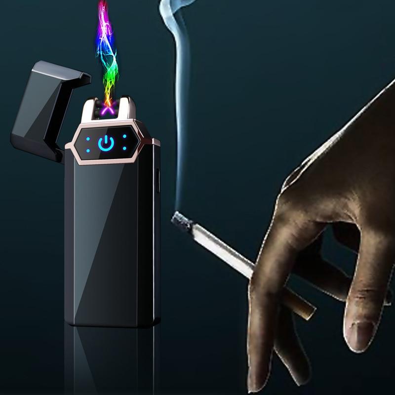 USB Electric Lighter Fingerprint Touch Fire Plasma Double Arc Lighter Windproof Metal Cigarette Fitting Men's Gift