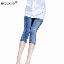 INDJXND, короткие джинсы, леггинсы для женщин, высокая талия, эластичные джинсовые Капри, имитация ковбоя, тонкие, для фитнеса, джинсовые, Синие леггинсы
