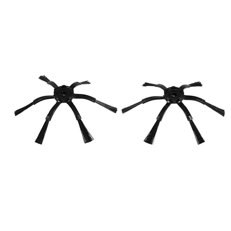 2Pcs 6 Arms Side Brushes for Xiaomi/Roborock S50 S51 S55 Robot Vacuum Cleaner Brushes Parts Accessories Side Brush(Black)