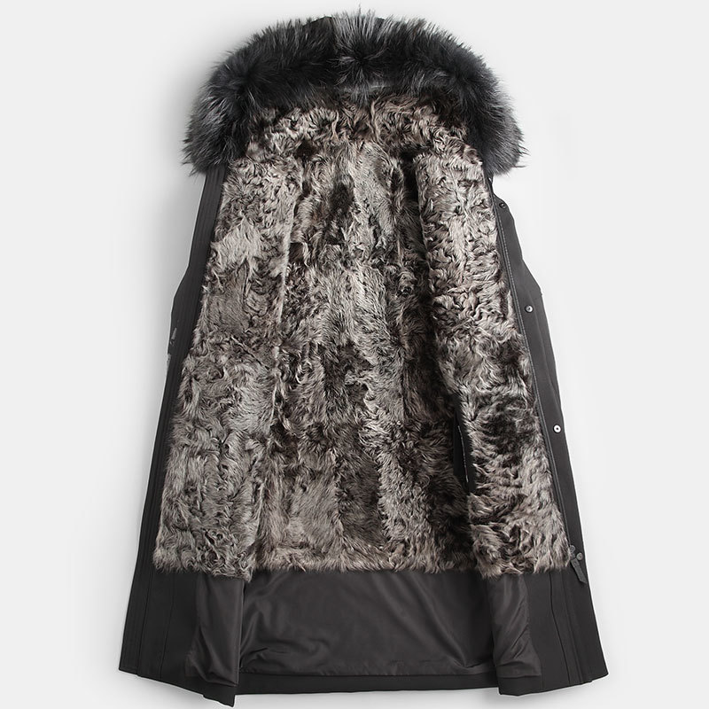 Natural Lamb Coat Winter Jacket Men Real Raccoon Fur Collar Warm Parkas Plus Size Jackets Casaco YY268