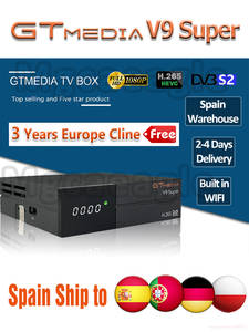 Tv-Receiver Cline NOVA Gt Media Satellite V9 Super-Europe Full-Hd DVB-S2 3-Years H.265-Wifi