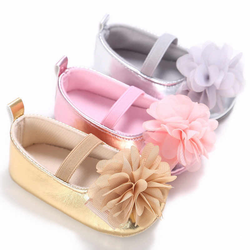 2019 New Infant Non-slip Toddler Kids Baby Shoes Newborn Girls Soft Sole Cotton Crib Floral PU Shoes First Walker 0-18M