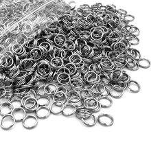 100 pçs/lote mais recente aço inoxidável duplo círculo cavalo pequeno chave anel semente de cânhamo vezes chave peças