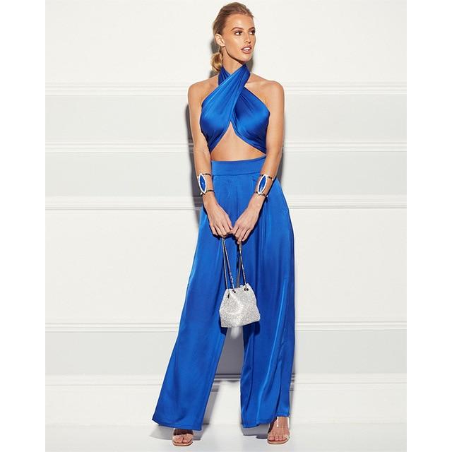 Elegant Two Piece Set Women Summer Cross Bandgae Halter Crop Top And Wide Leg Pants Outfit 5