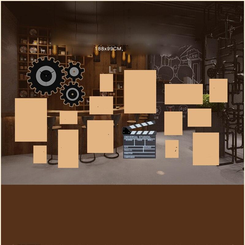 Американская фоторамка креативная фоторамка сочетание часов промышленная ветровая подвесная стена для гостиной фото Настенная роспись ук... - 6