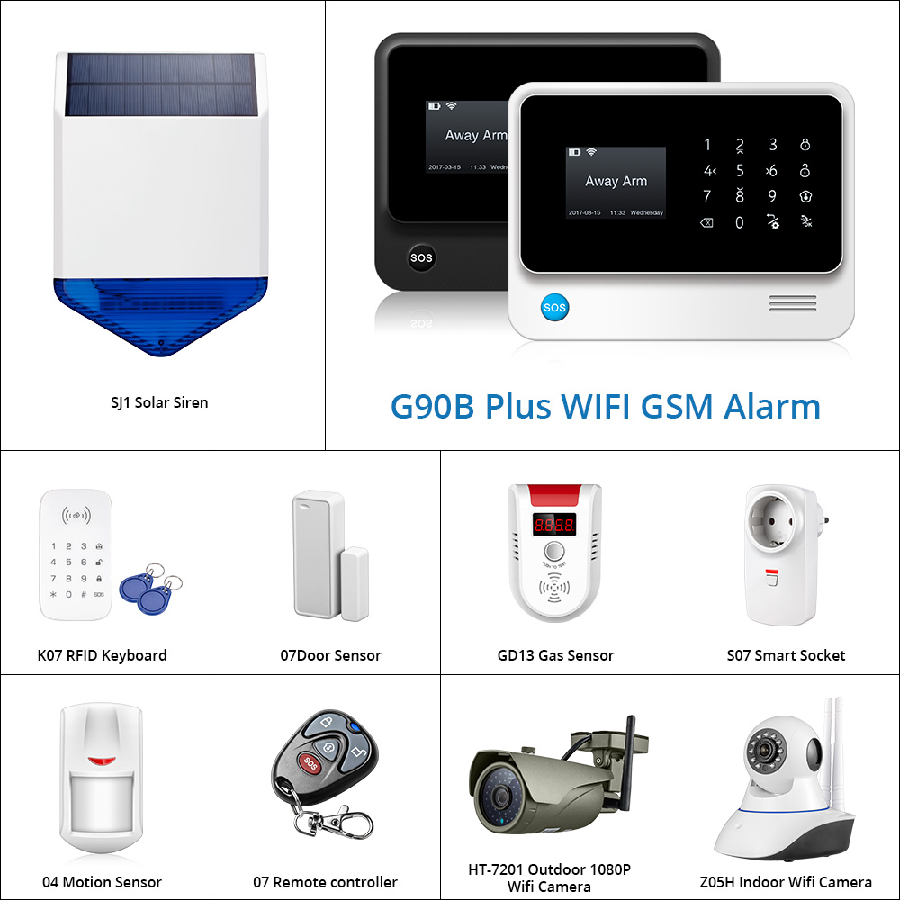 G90B Plus  WiFi GSM GPRS SMS Wireless Home Security Alarm System Flash Siren PIR And Door Smoke Detector IP Camera