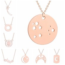 Geometric Crescent Moon Star Sun Necklace Pendant For Women Necklace Jewelry Fashion 3 Colors Gold & Rose Gold & Silver Color(China)