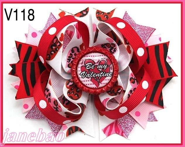 120 шт. бутик для девочек заколки для волос перо банты забавные, для волос луки ко Дню Святого Валентина с бантом