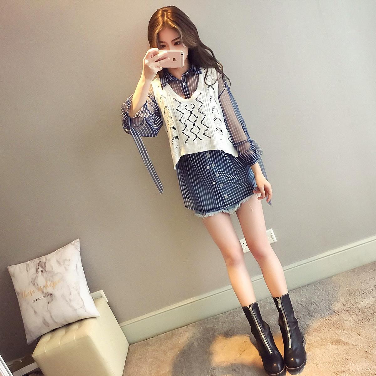 Tops Transparent Gauze Shirt Two-Piece Set Mid-length Long Sleeve Striped Shirt Women's