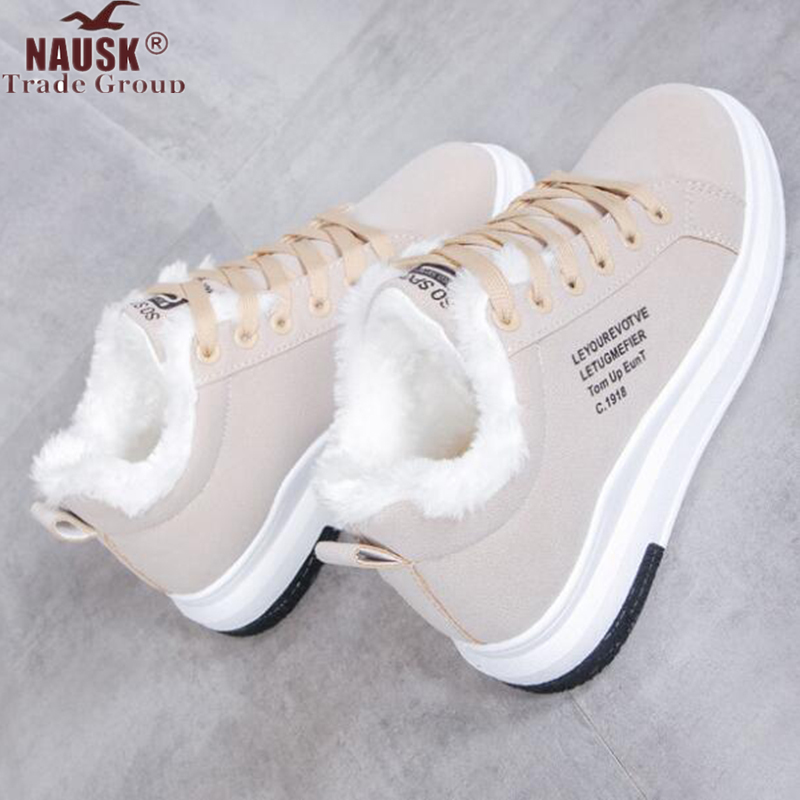 2019 Winter Women Shoes Warm Fur Plush Lady Casual Shoes Lace Up Fashion Sneakers Platform Snow Boots Big Size WSN324