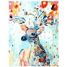 7 красочные олень 40x50 см живопись масляными красками по цифровому