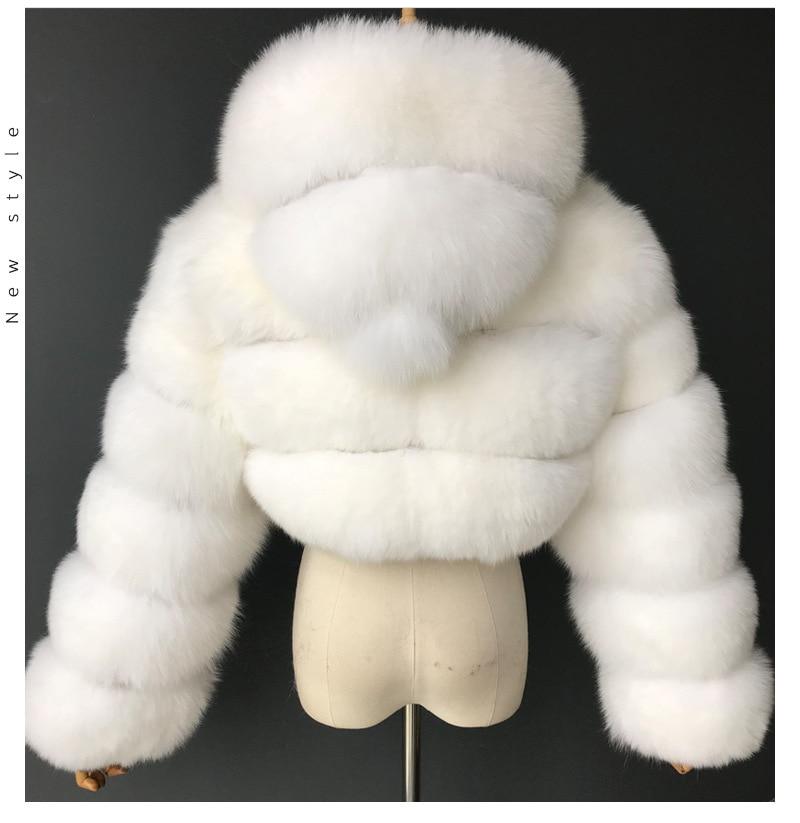 H3353c15e44744fd9bb45bf2e0864cad5g GAMPORL Fashion Winter High Quality Faux Fox Fur Coat Women Vintage Long Sleeve With Cap Slim Short Jackets Furry Coat Femme