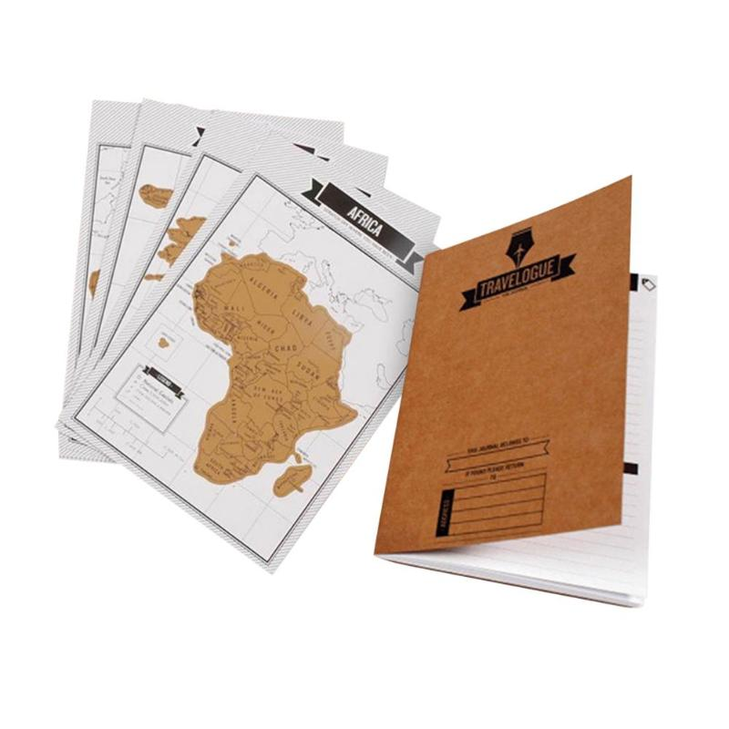 Journal Diary Scratch Scraping Card World Map Travelogue Travel Log Notebooks Educational Toy For Children