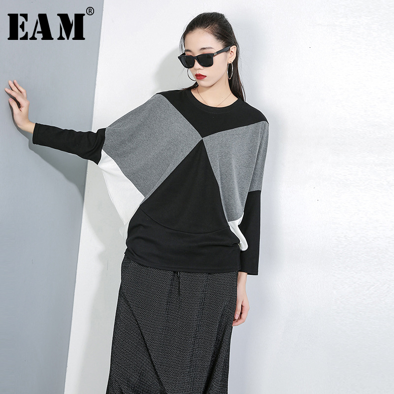 [EAM] Loose Fit Split Joint Oversized Sweatshirt New Round Neck Long Sleeve Women Big Size Fashion Tide Spring Autumn 2020 1D642