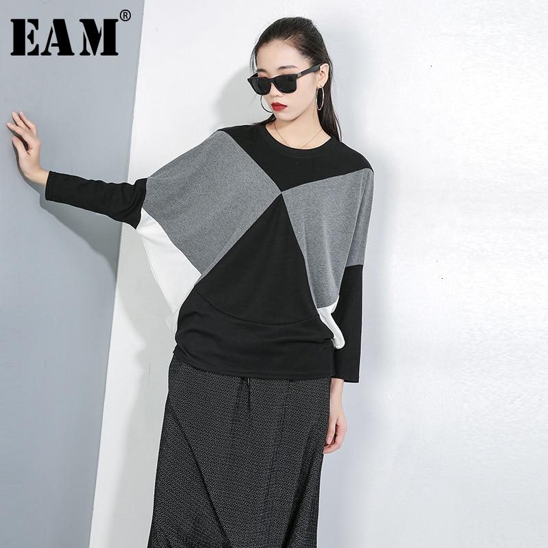 [EAM] Loose Fit Split Joint Oversized Sweatshirt New Round Neck Long Sleeve Women Big Size Fashion Tide Spring Autumn 2020 1D642