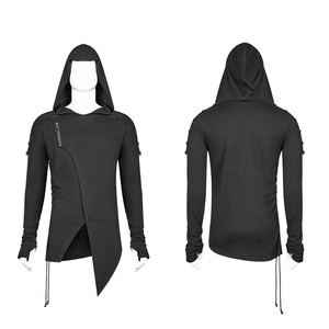 Image 4 - PUNK RAVE Gothic Mens Black Mysterious Men Long Sleeve T shirt Punk Rock Hooded Show Thin Sweatshirt Irregular Casual Tops Tees
