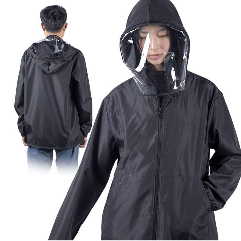 Outdoor Safety Black Big Hat Coat Unisex Isolation Face Full Cover Epidemic Coat