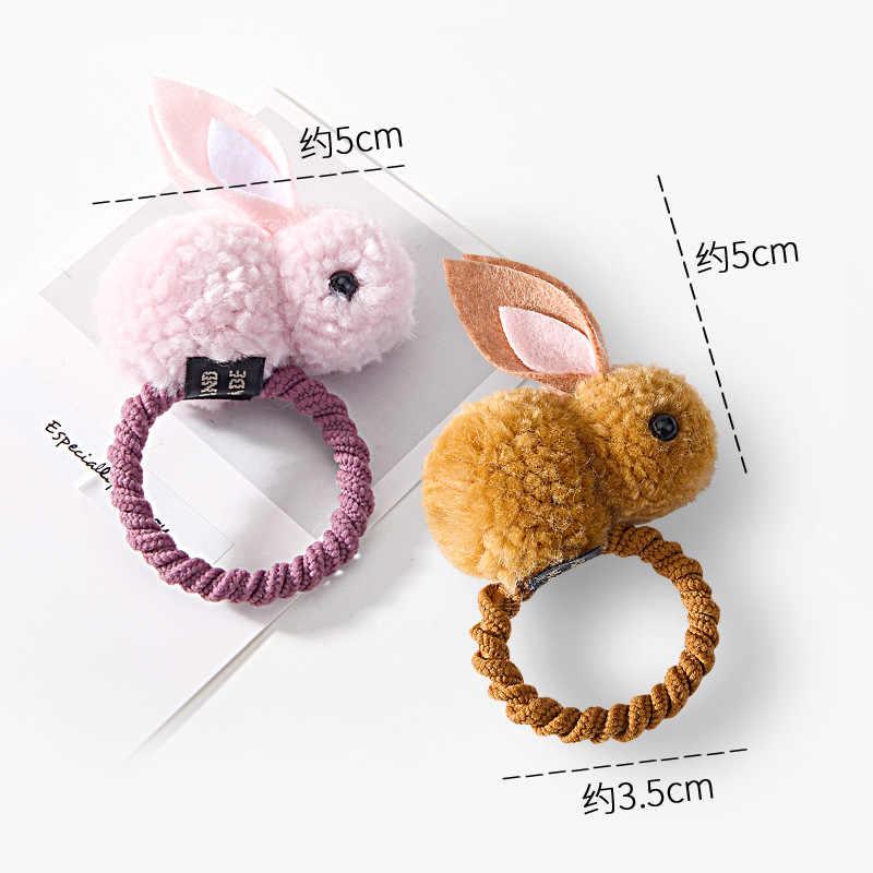 Прошитой подошве; теплые зимние плюшевые тапочки в виде кролика плюшевые детские заколки для волос резинка для волос, для маленькой девочки безопасное хранение аксессуаров для Full-завернуто в заколка для волос, милая повязка для волос