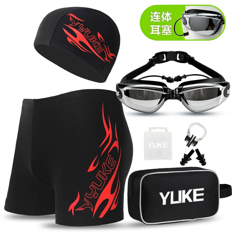 Swimming Trunks Men's Boxer Briefs Large Size Men-Style Hot Springs Swimming Trunks Men's Bathing Suit Goggle And Swimming Cap O