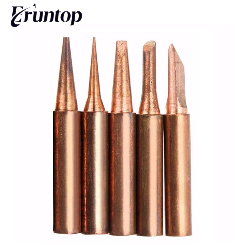 1SET 5PCS Copper 900M Soldering Iron Tip For Hakko 936 Soldering Rework Station Soldering Tips