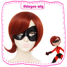 Ebingoo The Incredibles Elastigirl Cosplay Gadis Helen Parr Wig Merah Coklat Sintetis Pesta Kostum Halloween Wig + Masker Mata(China)