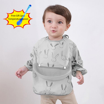Bandana Bibs Apron Baby Eating Children Cartoon Waterproof Long Sleeve Feeding Bib with Temperature spoon gift baby Stuff
