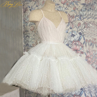 Dot Tulle Short Homecoming Dresses 2020 Sexy V Neck Back Tiered Spaghetti Straps vestido curto Mini Cocktail Gown Graduation