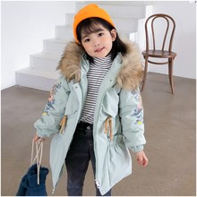 2020 Winter Warm 4 6 8 10 12 Years Long Thicken Outerwear Coat Fur Hooded Embroidery Duck Down Parkas Jacket For Kids Baby Girls(China)