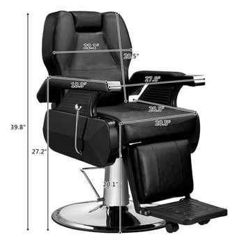 High Quality Classic Hydraulic Recline Hair Salon Iron Leather Sponge Barber Chair Black Adjustable back for barbershop