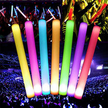 Light-Up Foam Sticks LED Cheer Tube Soft Glow Wands Flashing LED colourful Tube Light Up Glow Wand Rave Party #P40(China)