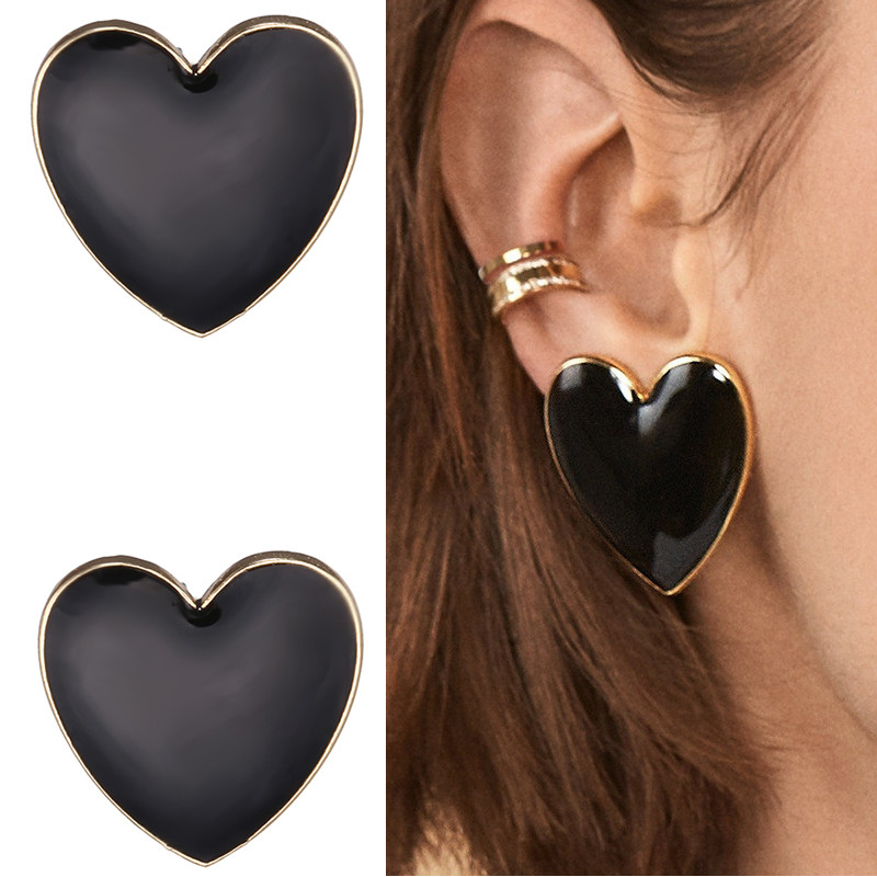 Big Enamel Heart Stud Earrings For Women Black Oil Gold Street Trendy Jewelry Statement Love Stud Earring Gifts For Girlfriends