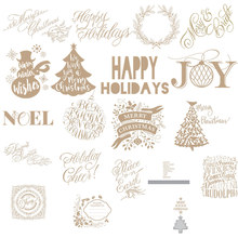 Merry XmasJoyWords Christmas Tree Metal Hot Foil Plates for DIY Scrapbooking Photo Album Gift Card Making Handcraft 2019 new