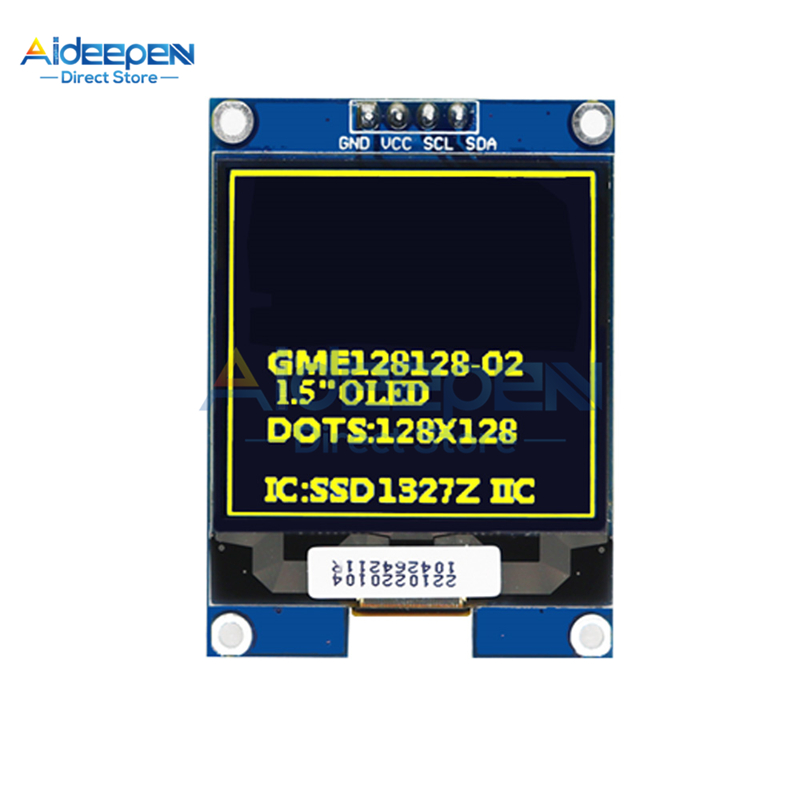 1.5 inch 128x128 <font><b>OLED</b></font> Shield Screen Module <font><b>SSD1327</b></font> Driver Chip I2C IIC Interface Yellow/White For STM32 For Arduino 3.3V-5V image