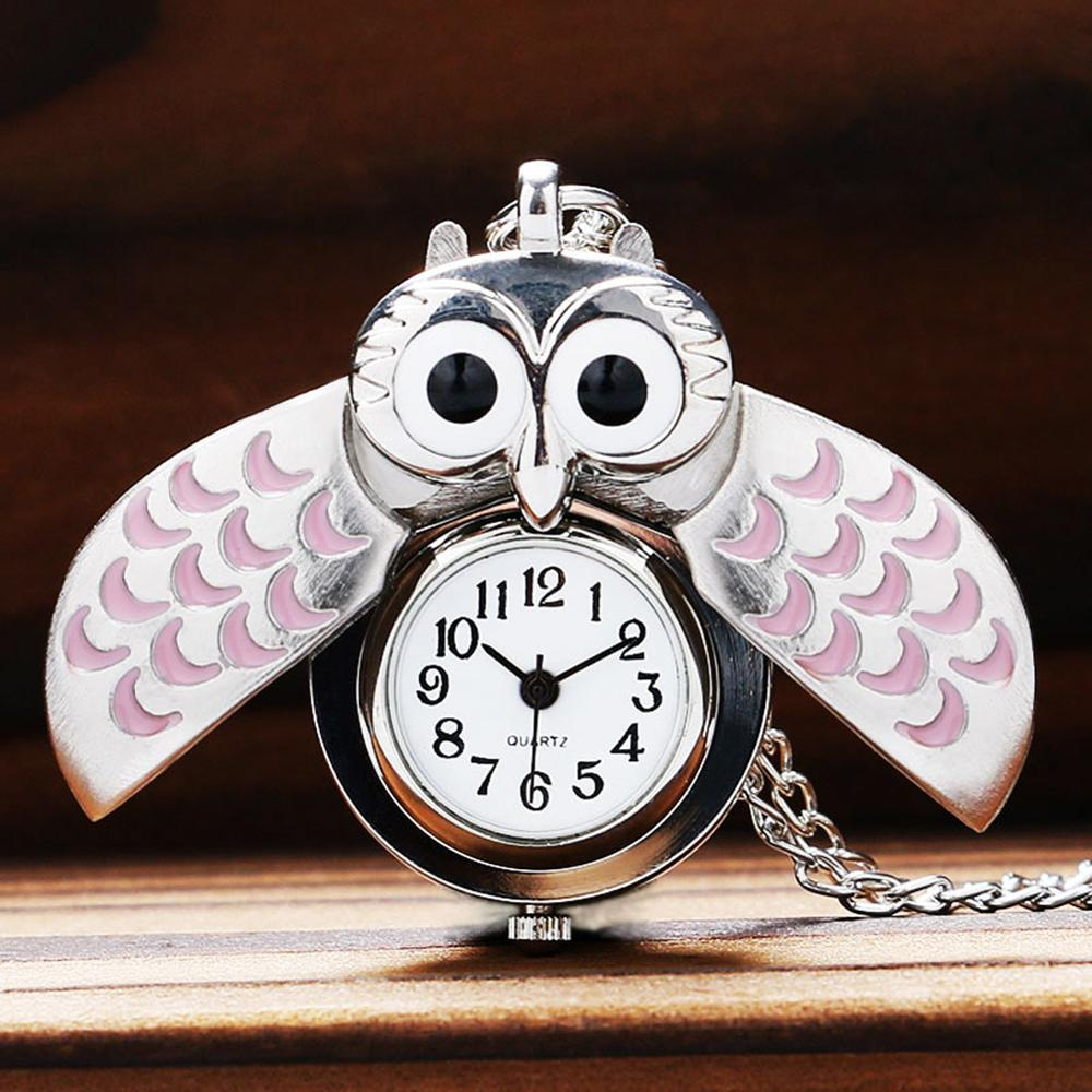 Fashion Silver With Pink Color Owl Shape Pocket Watch With Sweater Necklace Chain Gift For Women Ladies