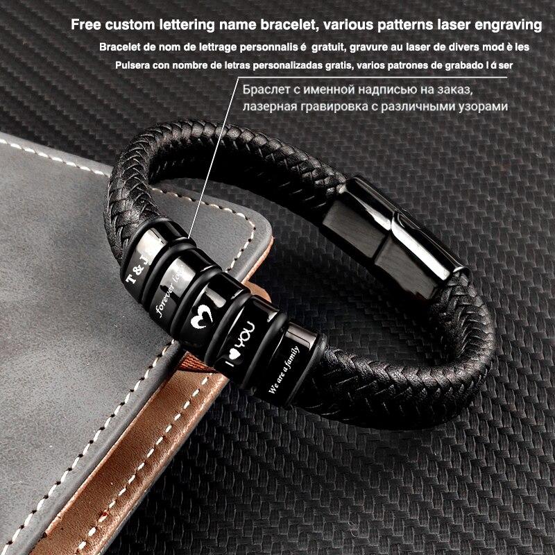 MingAo-Bracelet en cuir personnalisé pour hommes et femmes, perle en acier inoxydable Bracelet à breloques, cadeau d'anniversaire de Couple