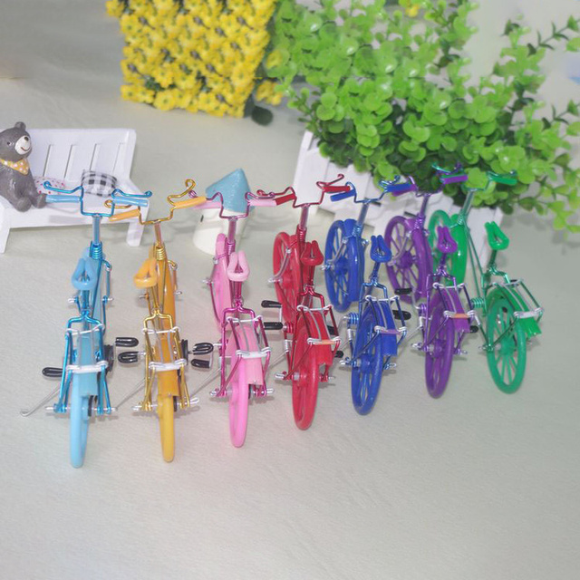 Creative Handmade Iron Bicycle Decoration Crafts for Home Office Gifts Figurines Miniatures Blue Pink Purple Small Bike Model 5