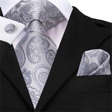 Silver Tie for Men Silk Gray Paisley Necktie Set Cufflinks Wedding Business Floral 150cm Hi-Tie SN-3530 Dropshipping