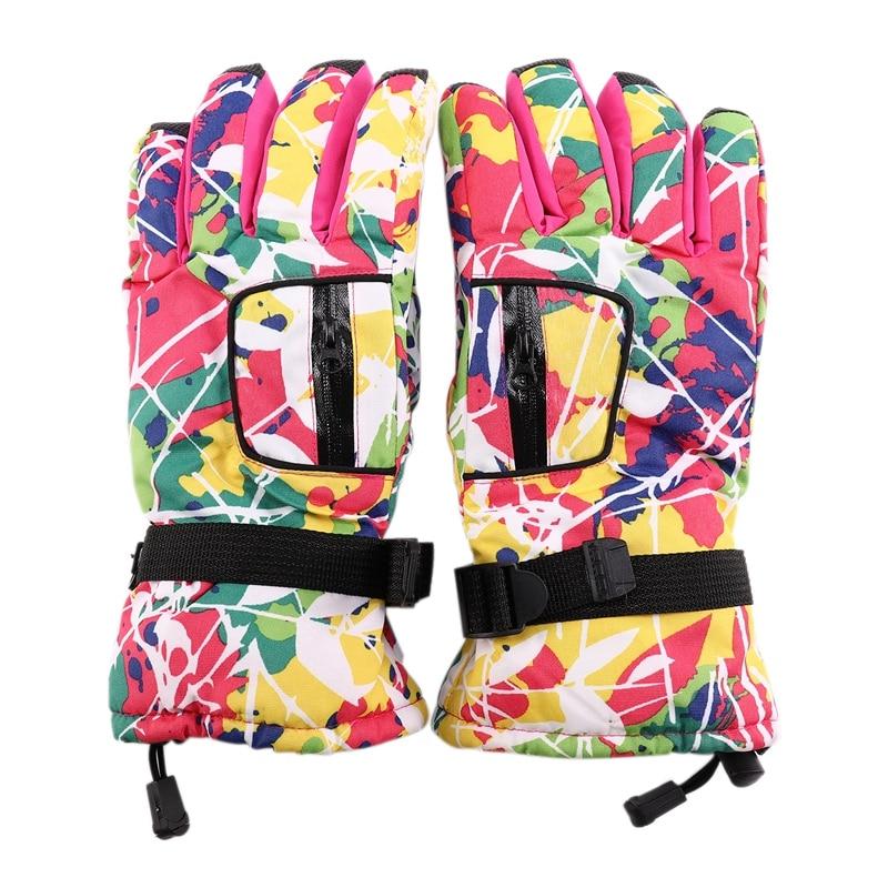 Winter Warm Waterproof Ski Gloves Non-Slip Thickening Colorful Ski Snowmobile Snowboard Snow Heating Gloves Men And Women Childr